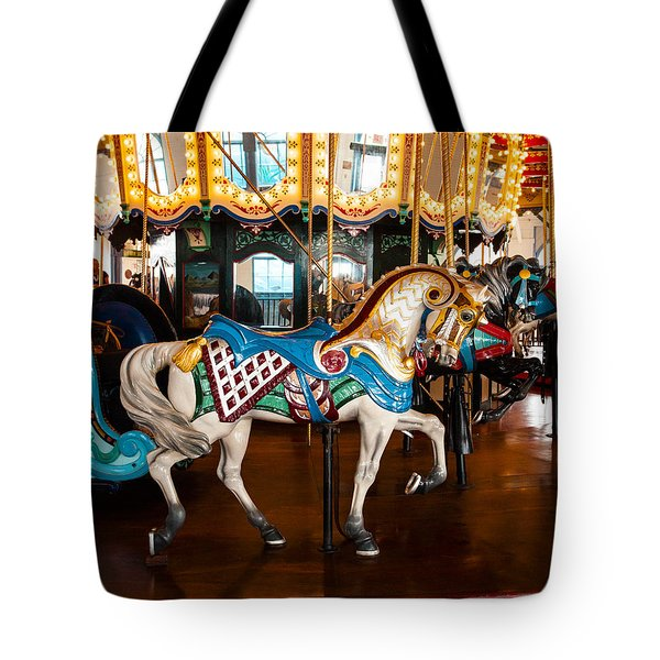 Tote Bag featuring the photograph Colorful Carousel Horse by Jerry Cowart
