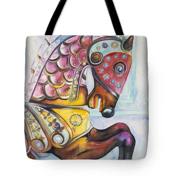 Colorful Carousel Horse  Tote Bag by Patty Vicknair