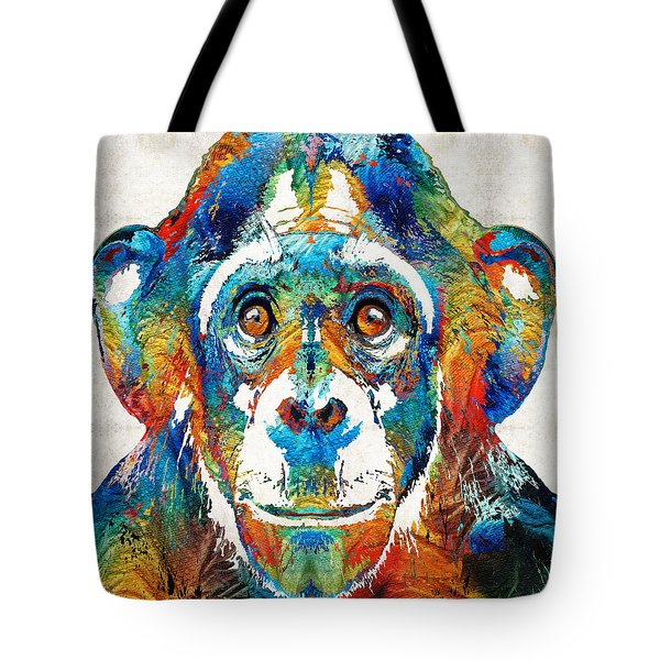 Colorful Chimp Art - Monkey Business - By Sharon Cummings Tote Bag by Sharon Cummings
