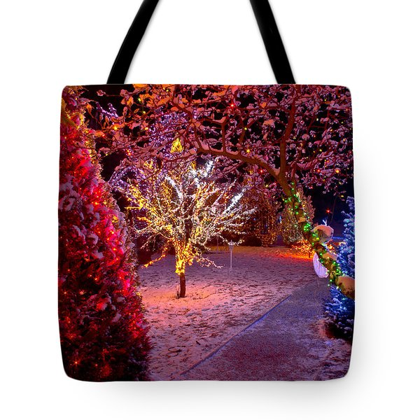 Colorful Christmas Lights On Trees Tote Bag by Brch Photography