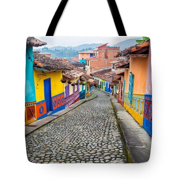Colorful Cobblestone Street Tote Bag