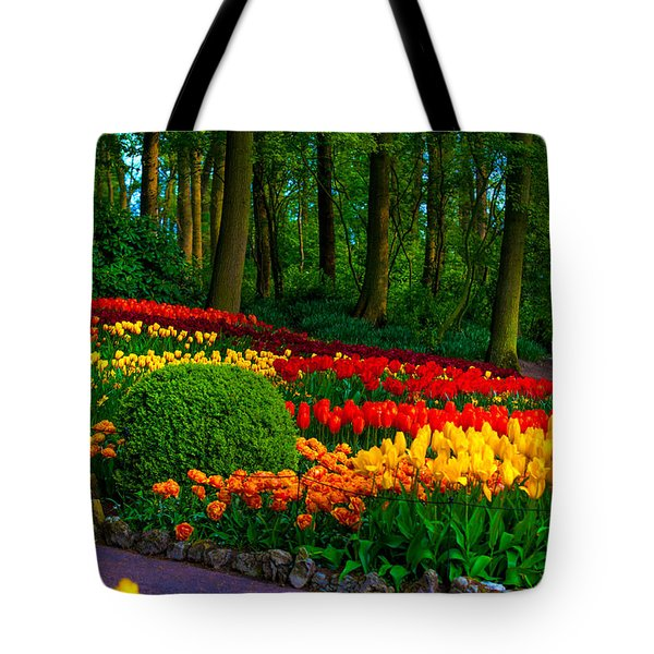 Colorful Corner Of The Keukenhof Garden 4. Tulips Display. Netherlands Tote Bag