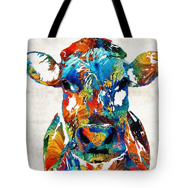 Colorful Cow Art - Mootown - By Sharon Cummings Tote Bag by Sharon Cummings
