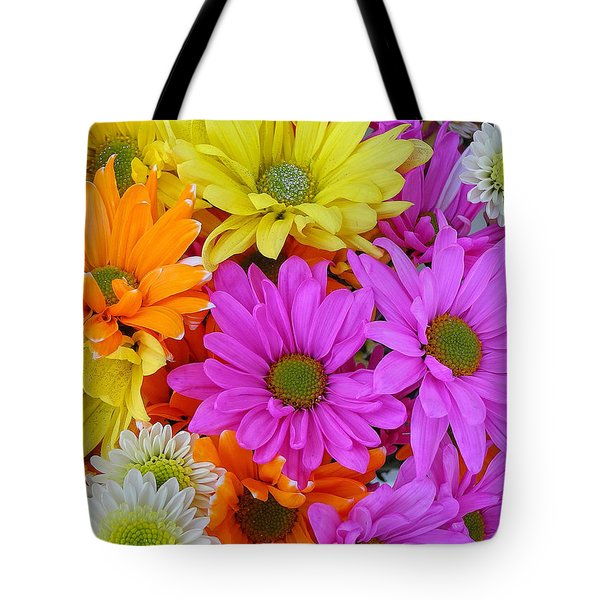 Colorful Daisies Tote Bag by Sami Martin