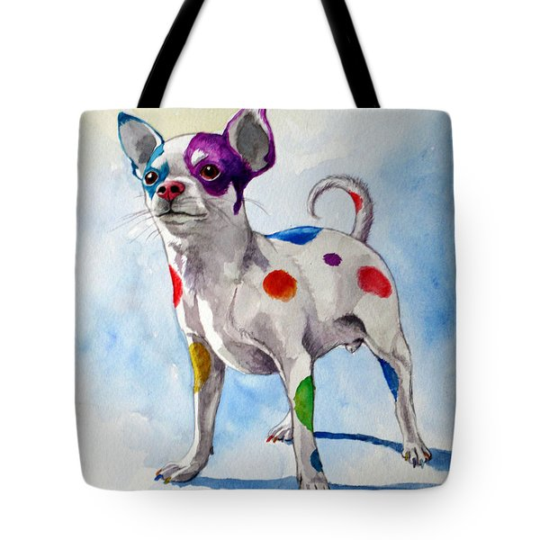 Colorful Dalmatian Chihuahua Tote Bag by Christopher Shellhammer