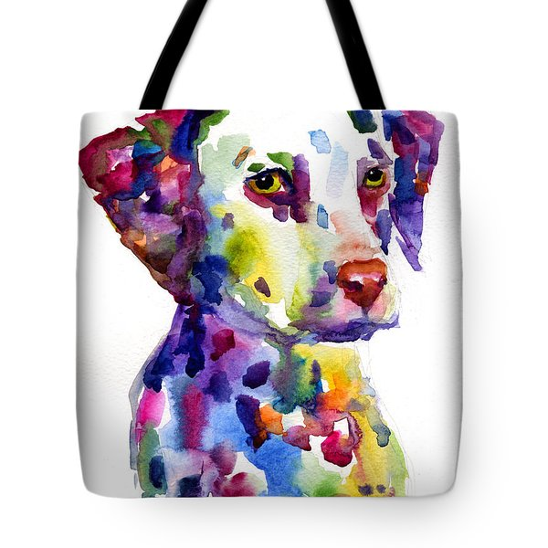 Colorful Dalmatian Puppy Dog Portrait Art Tote Bag
