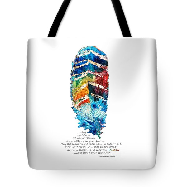 Colorful Feather Art - Cherokee Blessing - By Sharon Cummings Tote Bag by Sharon Cummings