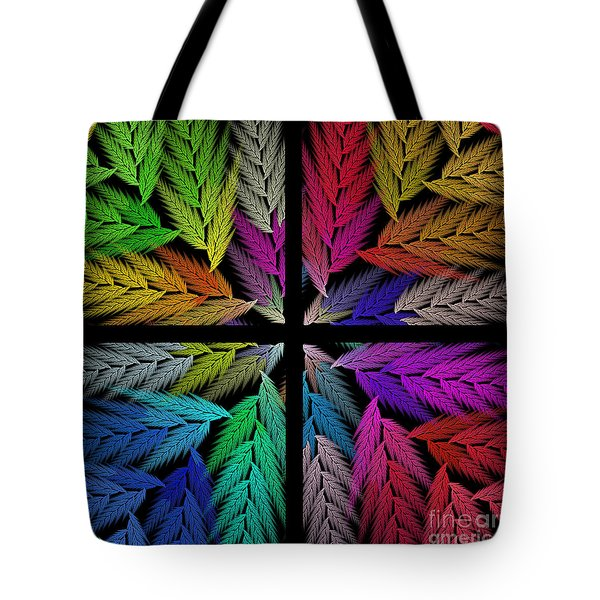 Colorful Feather Fern - 4 X 4 - Abstract - Fractal Art - Square Tote Bag by Andee Design