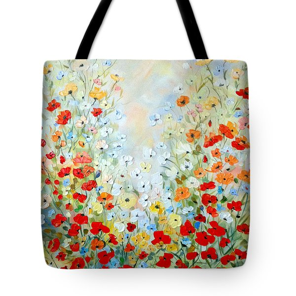 Tote Bag featuring the painting Colorful Field Of Poppies by Dorothy Maier