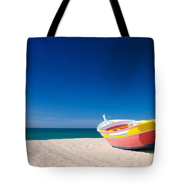 Colorful Fishing Boat Algarve Portugal Tote Bag by Amanda Elwell