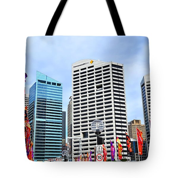 Colorful Flags Lead To City By Kaye Menner Tote Bag by Kaye Menner