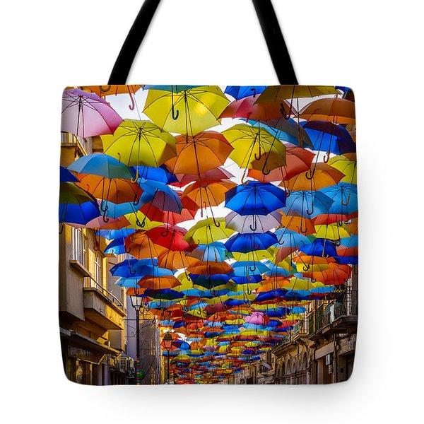 Colorful Floating Umbrellas Tote Bag
