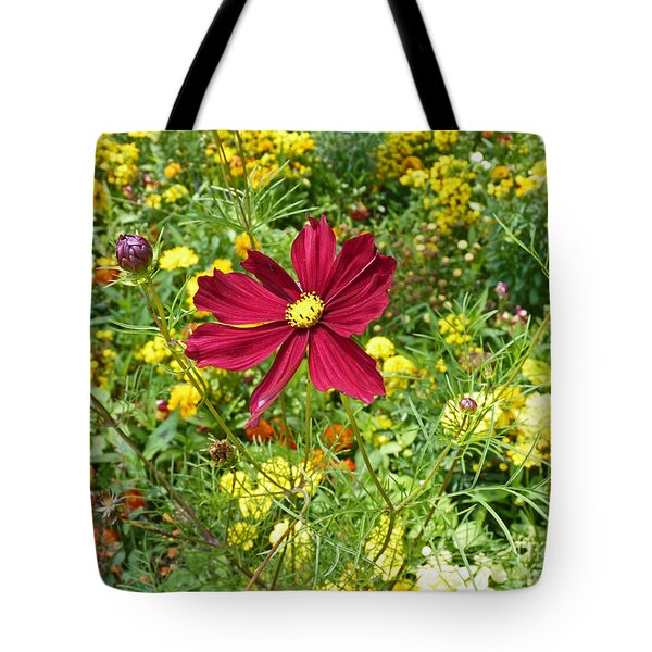 Colorful Flower Meadow With Great Red Blossom Tote Bag