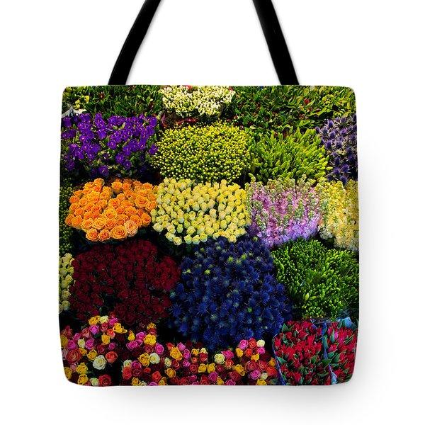 Colorful Flowers Background Tote Bag by Michal Bednarek
