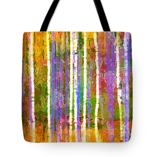 Colorful Forest Abstract Tote Bag by Menega Sabidussi