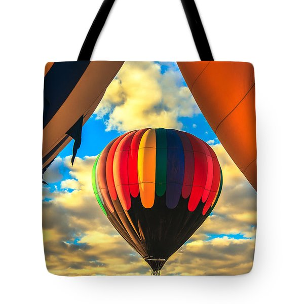 Colorful Framed Hot Air Balloon Tote Bag by Robert Bales