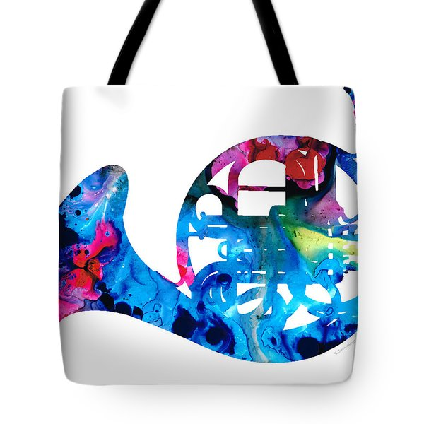 Colorful French Horn 2 - Cool Colors Abstract Art Sharon Cummings Tote Bag by Sharon Cummings