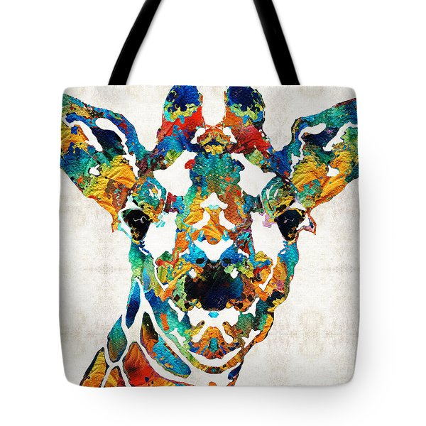 Colorful Giraffe Art - Curious - By Sharon Cummings Tote Bag