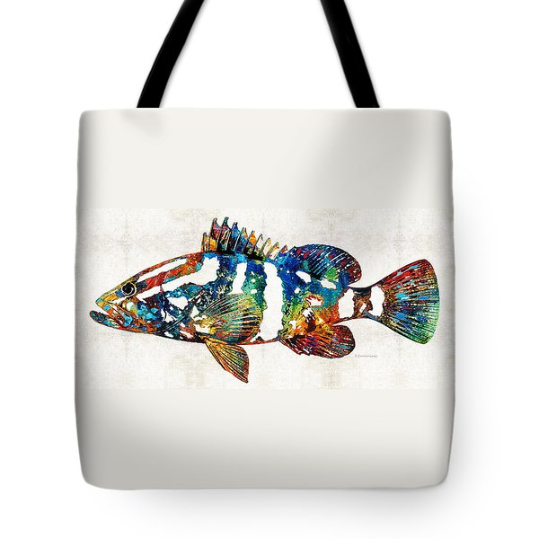 Colorful Grouper 2 Art Fish By Sharon Cummings Tote Bag by Sharon Cummings