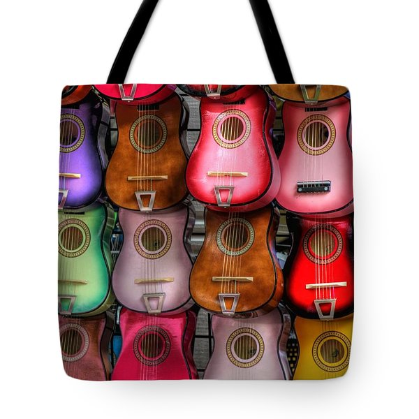 Colorful Guitars Tote Bag by Tony  Colvin