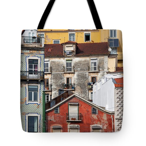 Colorful Houses In The City Of Lisbon Tote Bag by Artur Bogacki