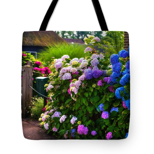 Colorful Hydrangea At The Gate. Giethoorn. Netherlands Tote Bag by Jenny Rainbow