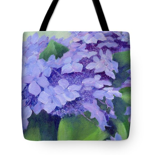 Colorful Hydrangeas Original Purple Floral Art Painting Garden Flower Floral Artist K. Joann Russell Tote Bag