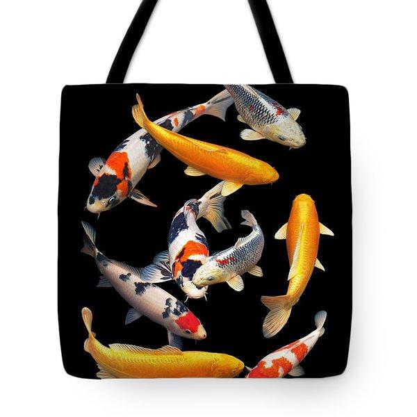 Colorful Japanese Koi Vertical Tote Bag