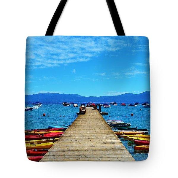 Colorful Kayaks At The Pier Tote Bag