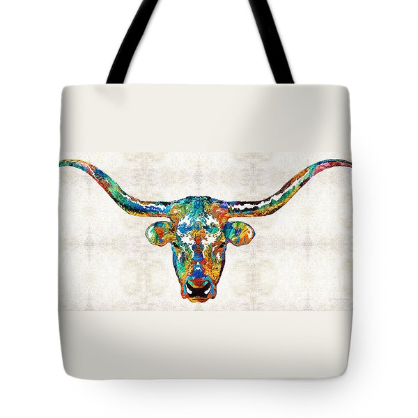 Colorful Longhorn Art By Sharon Cummings Tote Bag by Sharon Cummings