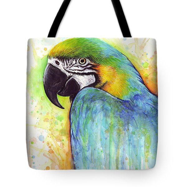 Macaw Painting Tote Bag by Olga Shvartsur