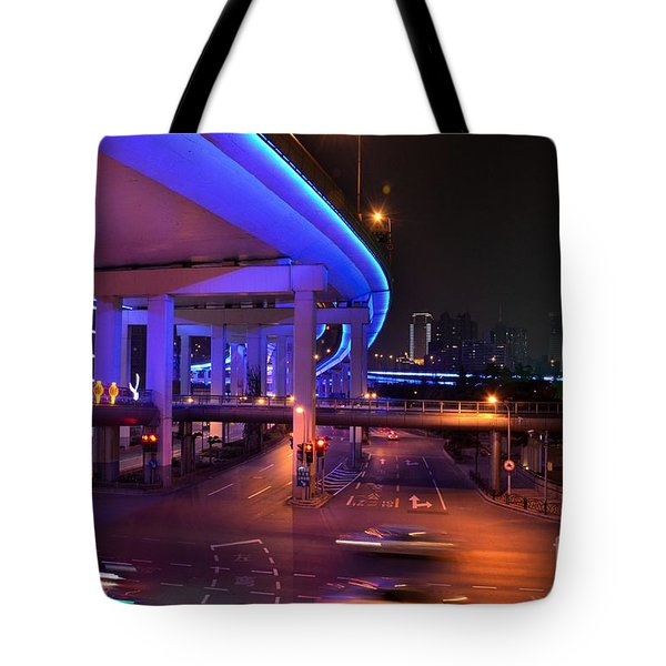 Colorful Night Traffic Scene In Shanghai China Tote Bag