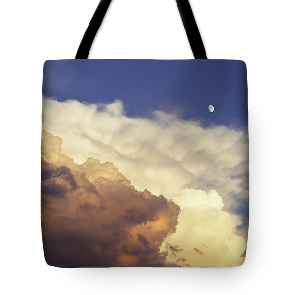 Colorful Orange Magenta Storm Clouds Moon At Sunset Tote Bag by Keith Webber Jr