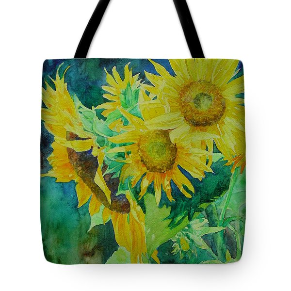 Colorful Original Sunflowers Flower Garden Art Artist K. Joann Russell Tote Bag