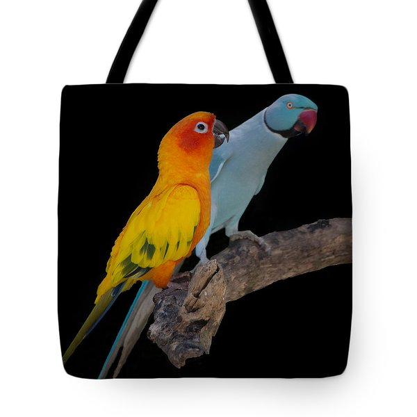 Sun Conure And Ring Neck Parakeet Tote Bag