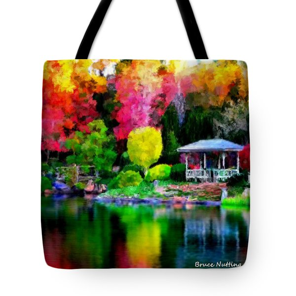 Tote Bag featuring the painting Colorful Park At The Lake by Bruce Nutting