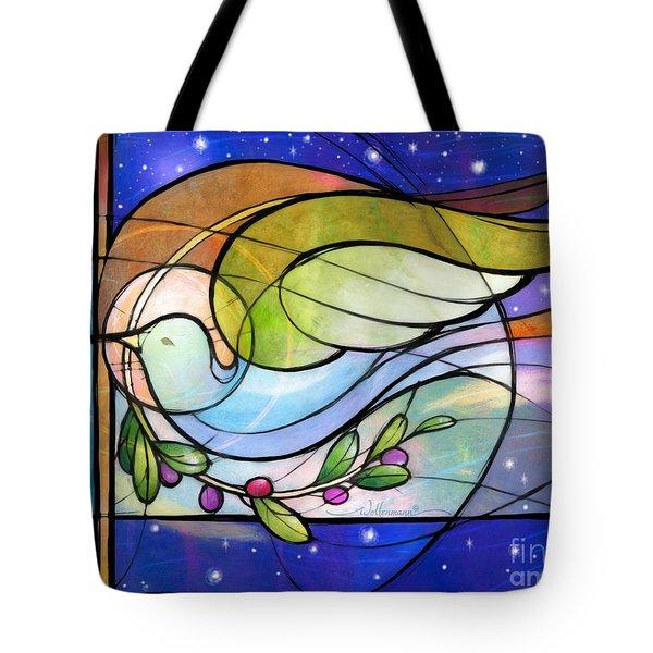 Colorful Peace Dove Tote Bag