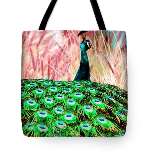 Tote Bag featuring the photograph Colorful Peacock by Matt Harang