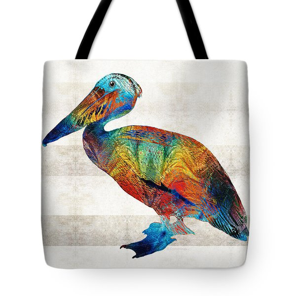 Colorful Pelican Art By Sharon Cummings Tote Bag by Sharon Cummings