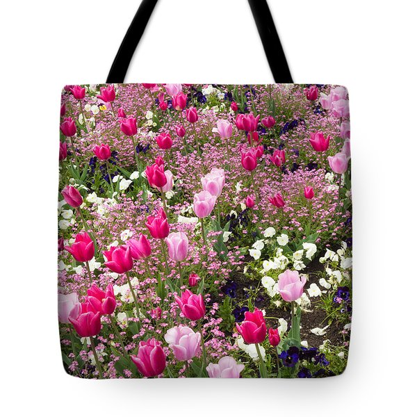 Colorful Pink Tulips And Other Flowers In Spring Tote Bag