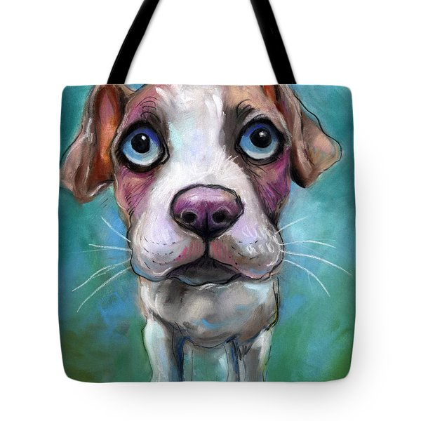 Colorful Pit Bull Puppy With Blue Eyes Painting  Tote Bag