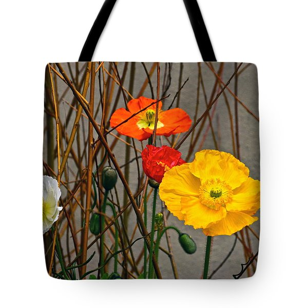 Colorful Poppies And White Willow Stems Tote Bag