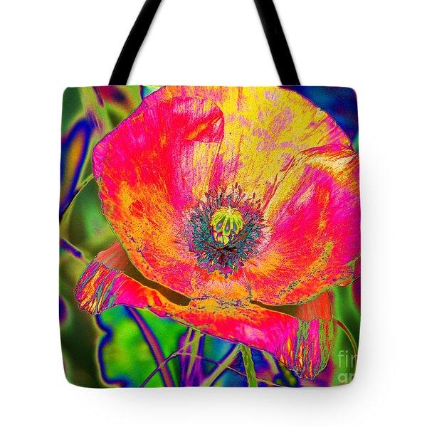 Colorful Poppy Tote Bag by Carol Lynch