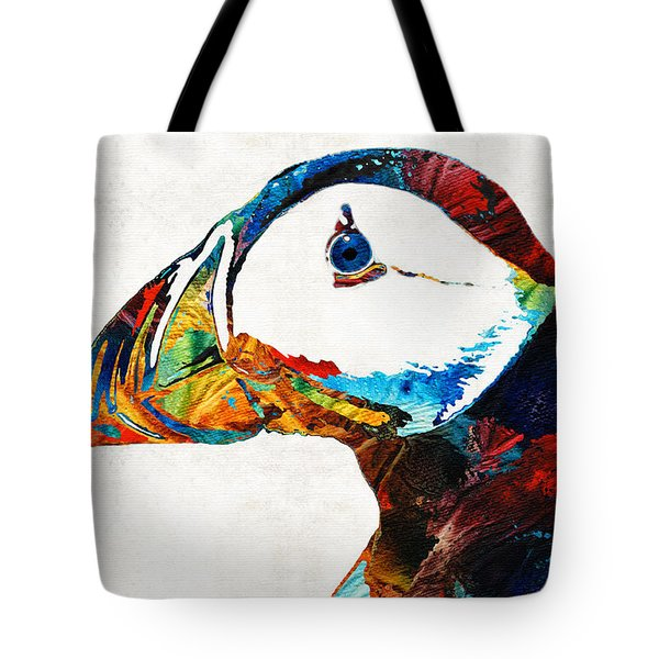 Colorful Puffin Art By Sharon Cummings Tote Bag