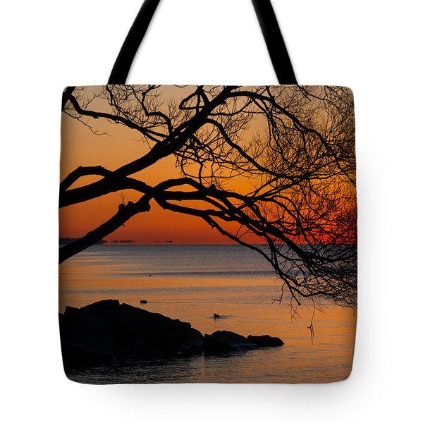Colorful Quiet Sunrise On Lake Ontario In Toronto Tote Bag