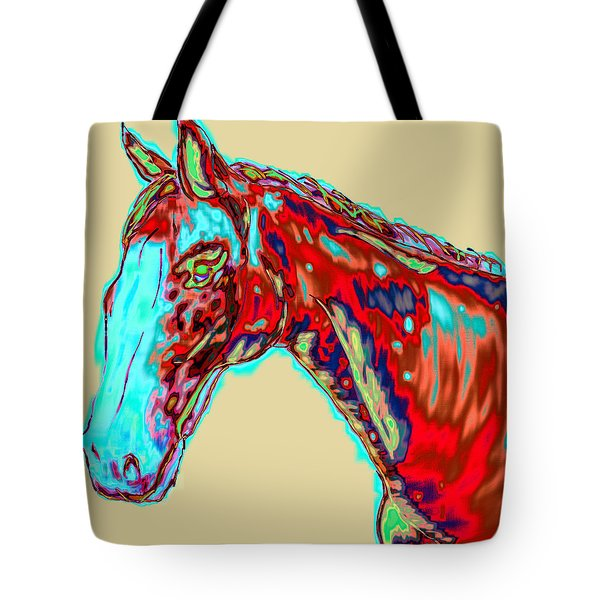 Colorful Race Horse Tote Bag by Mark Moore