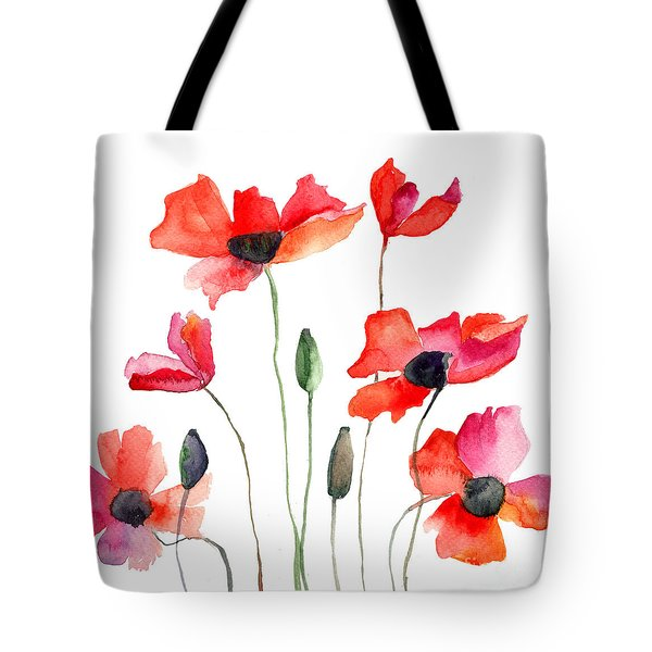Colorful Red Flowers Tote Bag