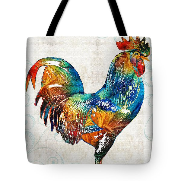 Colorful Rooster Art By Sharon Cummings Tote Bag