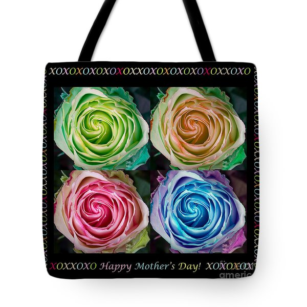 Colorful Rose Spirals Happy Mothers Day Hugs And Kissed Tote Bag by James BO  Insogna