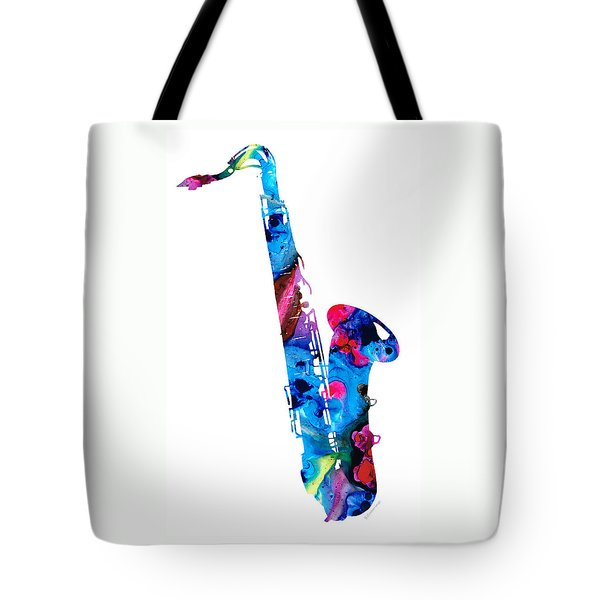 Colorful Saxophone 2 By Sharon Cummings Tote Bag by Sharon Cummings